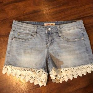 Cute denim shorts with lace detail size 3